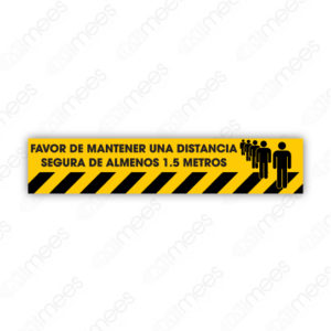 SCD 014 Señalamiento Favor de Mantener una Distancia Segura de Almenos 1.5 Metros Amarillo (Gráfico para Piso)