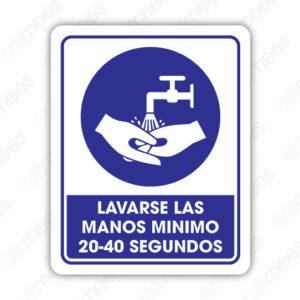 SCD 019 Señalamiento Lavarse las Manos Mínimo 20-40 Segundos