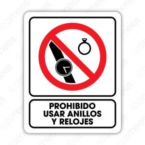 SRO 030 Señalamiento Prohibido usar Anillos y Relojes