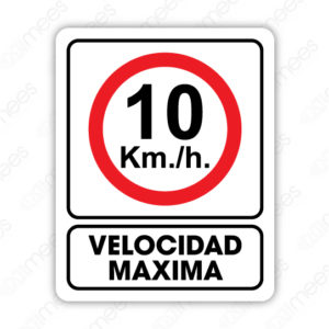 SRO 050 Señalamiento 10 Km. Velocidad Máxima