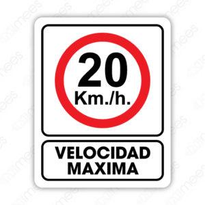 SRO 051 Señalamiento 20 Km. Velocidad Máxima