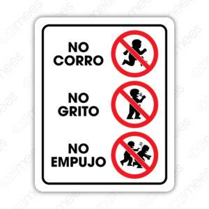 SRO 057 Señalamiento No Corro No Grito No Empujo (niños)