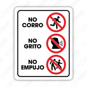 SRO 058 Señalamiento No Corro No Grito No Empujo (Adultos)