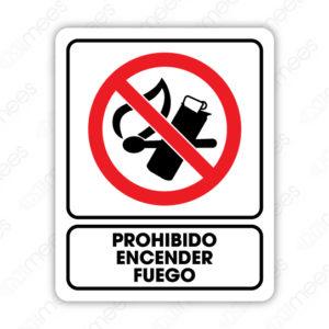 SRO 071 Señalamiento Prohibido encender Fuego