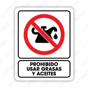 SRO 072 Señalamiento Prohibido Usar Grasas y Aceites
