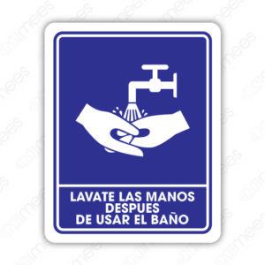 SIN 042 Señalamiento Lavate las Manos Después de Usar el Baño