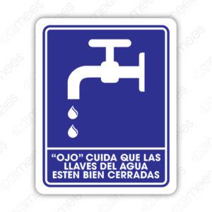 SIN 044 Señalamiento Ojo Cuida que las Llaves del Agua Estén Bien Cerradas