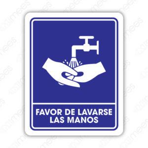 SIN 063 Señalamiento Favor de Lavarse las Manos