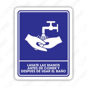 SIN 064 Señalamiento Favor de Lavarse las Manos Antes de Comer y Después de Usar el Baño