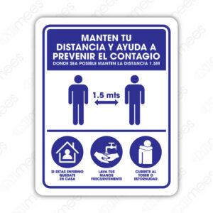 SCD 028 Señalamiento Mantén tu Distancia y Ayuda a Prevenir el Contagio