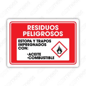 SES 034 Señalamiento Residuos Peligrosos Estopa y Trapos Impregnados con Aceite-Combustible