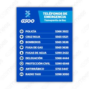 G500-SEÑ-020 Señalamiento Teléfonos de Emergencia