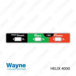 PMX-CL-WH4-05 Carátula Lexan PEMEX® Wayne Helix 4000 Diesel/Magna/Premium