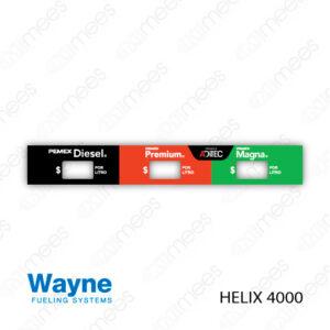PMX-CL-WH4-06 Carátula Lexan PEMEX® Wayne Helix 4000 Diesel/Premium/Magna