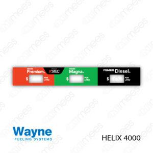 PMX-CL-WH4-08 Carátula Lexan PEMEX® Wayne Helix 4000 Premium/Magna/Diesel