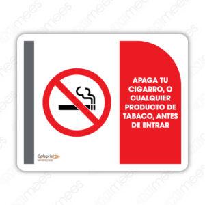 SNF 004 Señalamiento COFEPRIS Apaga Tu Cigarro