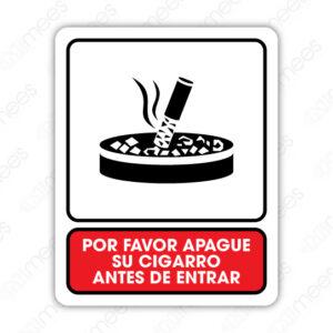 SNF 016 Señalamiento Por Favor Apague Su Cigarro Antes de Entrar