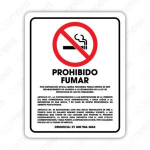 SNF 017 Señalamiento Prohibido Fumar Artículo 27/Artículo 30