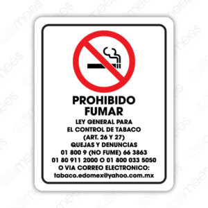 SNF 018 Señalamiento Prohibido Fumar Ley General Para el Control Del Tabaco