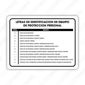 SSC 005 Señalamiento Letras de Identificación de Equipo de Protección Personal